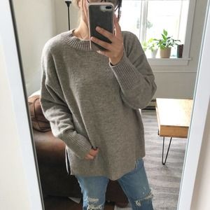 H&M | Taupe Brown Wool Blend Mock Neck Sweater LG